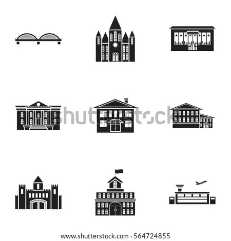 Vector Pattern Old Building Icons Retro 241669591 on library exterior