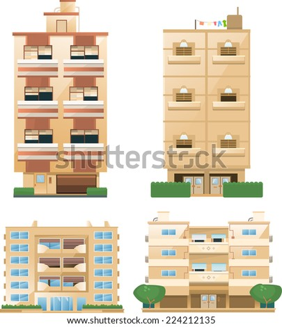 Building set of building architectural construction apartment houses set vector illustration collection. - stock vector