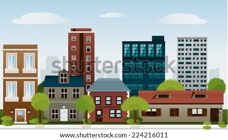 Building set of sky scraper architectural construction outbuilding apartment house vector illustration. - stock vector