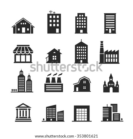Building  shop icon set one color vector - stock vector