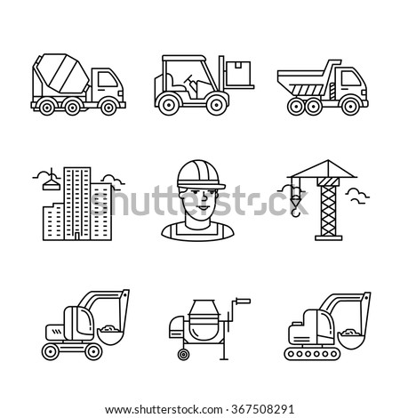 Building site engineering and machinery. Thin line art icons. Linear style illustrations isolated on white. - stock vector
