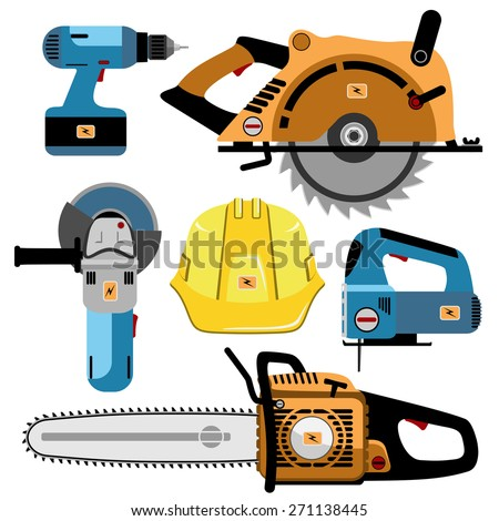 Building Tools Electric isolated on white background. Set icon. Vector illustration. - stock vector