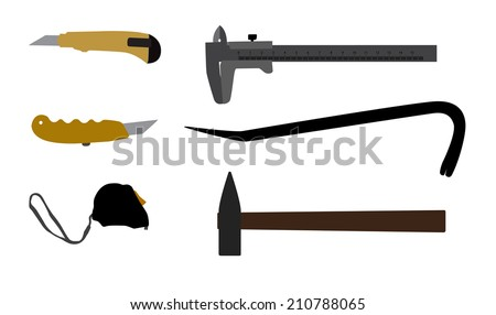 Building tools hammer, screwdriver, tape measure. Vector Illustration EPS10 - stock vector