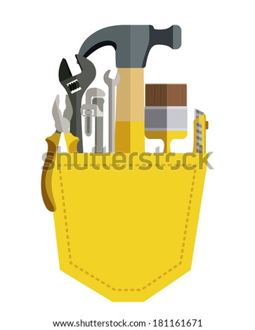 building tools over white background vector illustration