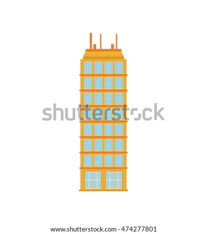 building tower city real estate icon. Isolated and flat illustration. Vector graphic