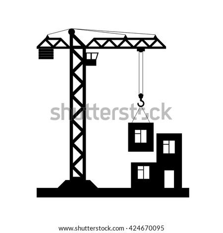 Building Tower crane icon - vector, flat design. Eps 10. - stock vector