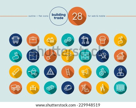 Building trade and construction colorful flat icons set for web and mobile app. EPS10 vector file organized in layers for easy editing. - stock vector