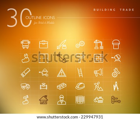 Building trade and construction outline icons set for web and mobile app. EPS10 vector file organized in layers for easy editing. - stock vector