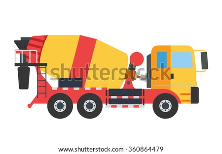 Building under construction cement mixer machine machine technics vector illustration. Building cement mixer machine truck vector. Under construction vector concept. Mixer vector isolated.Cement mixer - stock vector
