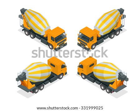 Building under construction cement mixer machine technics vector illustration. Building cement mixer machine truck vector. Under construction vector concept. Mixer vector isolated. Cement mixer - stock vector