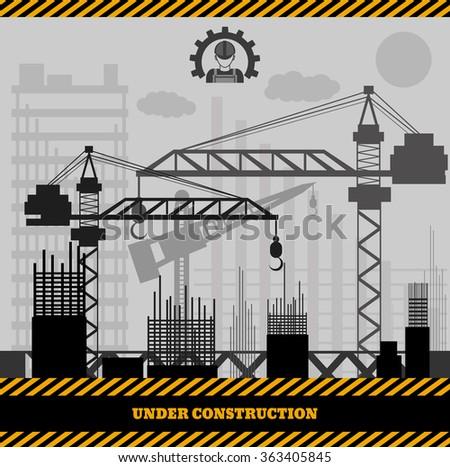 Building under Construction site,Construction infographics Vector illustration eps 10 - stock vector