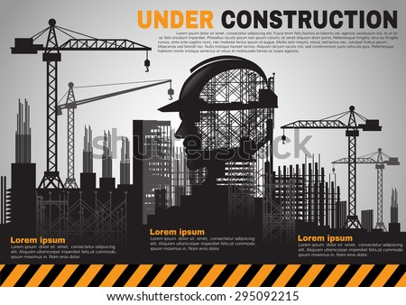 Building under Construction site,Construction infographics,Vector illustration template design - stock vector