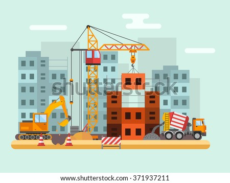 Building under construction, workers and construction technical vector illustration. Building mixer truck, crane vector. Under construction concept. Workers in helmet, construction machine isolated - stock vector