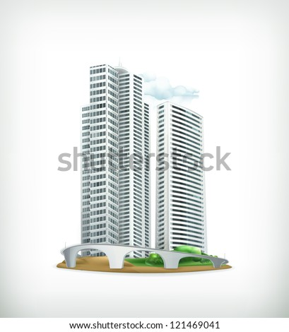 Building, vector - stock vector