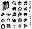 Building vector icons set on gray - stock
