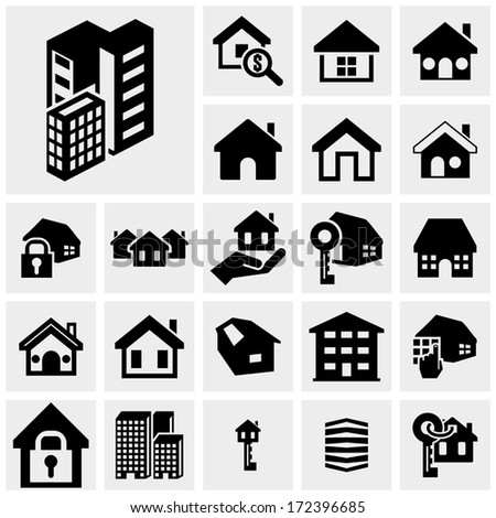 Building vector icons set on gray - stock vector