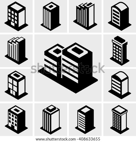 Building vector icons set on gray.  - stock vector