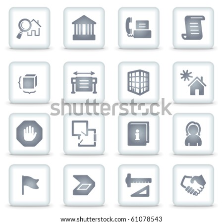 Building vector web icons, white square buttons - stock vector
