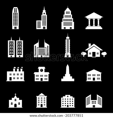 Building vector - white - stock vector