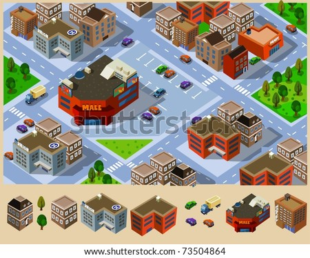 Buildings and Mall in a city. Compose your own city - stock vector