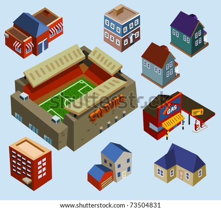 Buildings and Soccer Stadium in a city. Compose your own city - stock vector