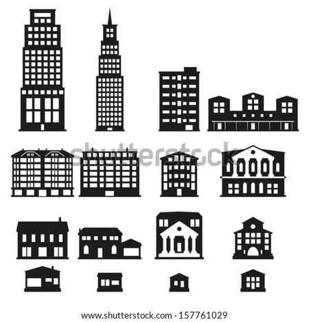 Buildings - buildings icon set  - stock vector