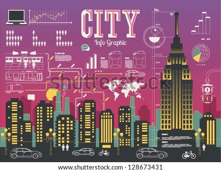 buildings,City info graphic, colorful vector skyline - stock vector
