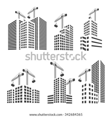 Buildings construction  set  - stock vector