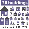 buildings & houses icons set, vector - stock vector
