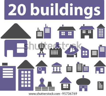 buildings & houses icons set, vector