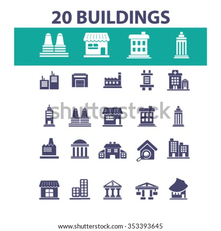 buildings, houses  icons, signs vector concept set for infographics, mobile, website, application  - stock vector