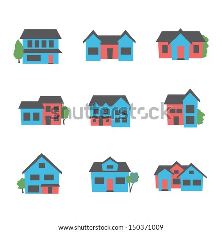 Buildings icon set - stock vector