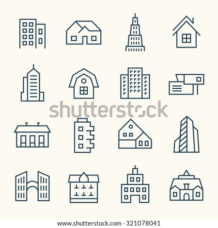Buildings icon set - stock vector