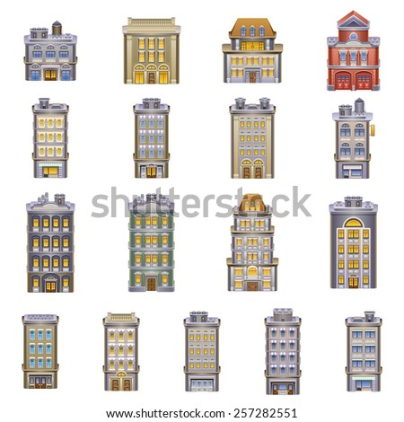 Buildings icons. Detailed vector illustration of a Buildings. Eps 10. - stock vector