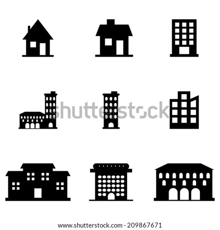 Buildings_Icons_Set - stock vector