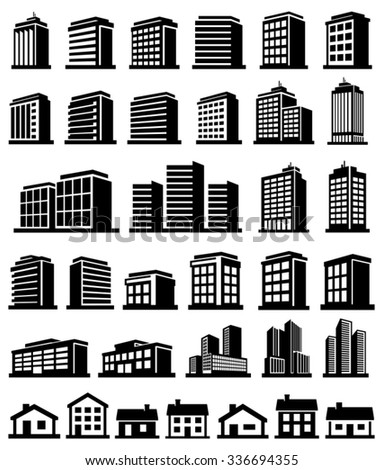 Buildings icons set vector  - stock vector