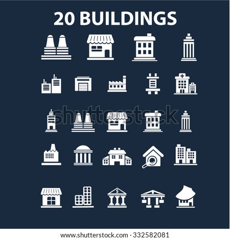 buildings icons set vector for infographics - stock vector