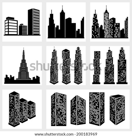 Buildings icons vector black on white background - stock vector