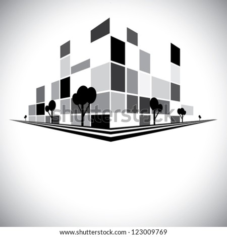 Buildings in b & w of city skyline with skyscrapers, trees tall towers and streets in shades of black, white and grey - vector logo template icon - stock vector