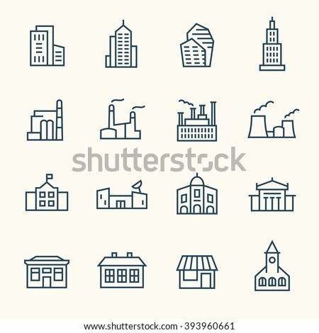Buildings line icons - stock vector