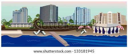 Buildings near the sea - stock vector