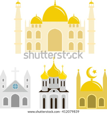 buildings of various religions and faiths on a white background - stock vector