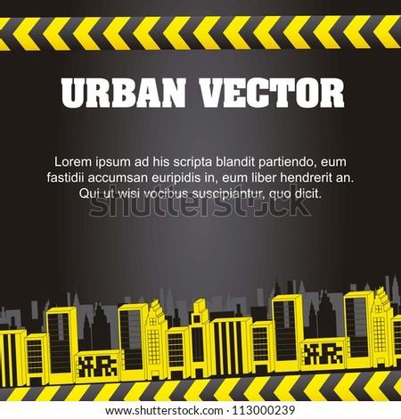 buildings over black background. vector illustration - stock vector