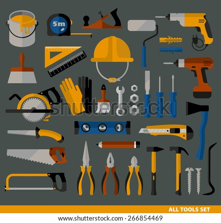 Buildings tools icons set. Flat design symbols. - stock vector