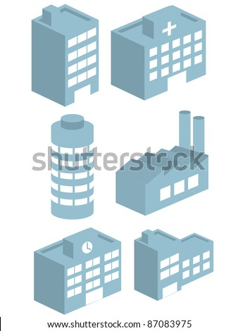 Buildings vector collection set 3D - stock vector