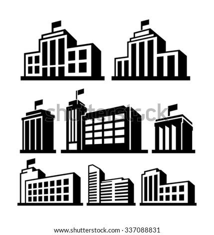 Buildings vector icon - stock vector