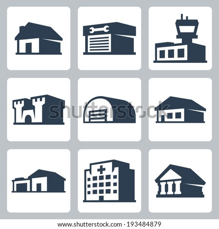 Buildings vector icons set, isometric style #3 - stock vector
