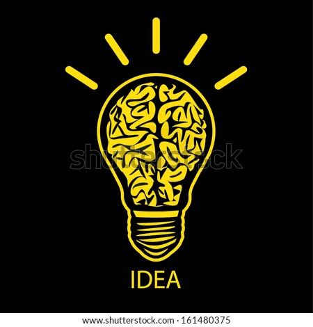 BULB BRAIN ICON WITH IDEA CONCEPT - stock vector
