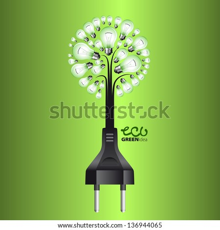 bulb from tree with cable and plug isolated on background - stock vector