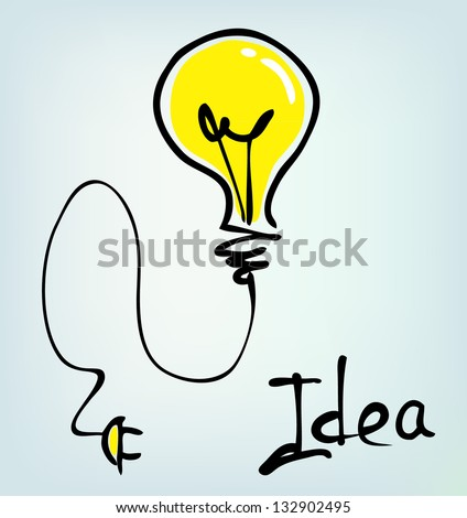 bulb hand drawn idea - stock vector